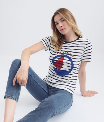 women's navy blue striped t-shirt