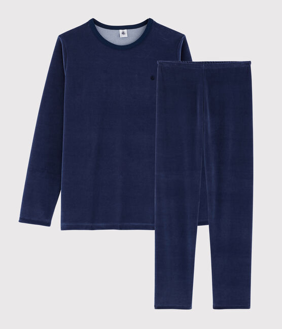 Unisex Navy Velour Pyjamas Medieval blue