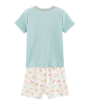 Boys' Ribbed Short Pyjamas Crystal green / Multico white