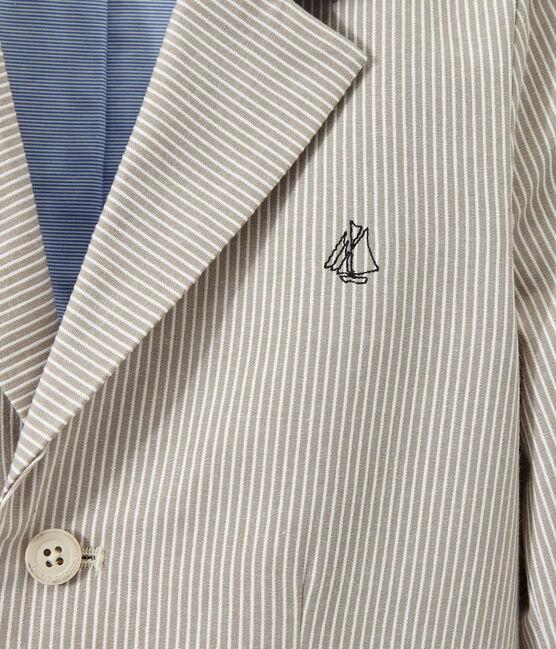 Boy's jacket in striped canvas Minerai grey / Lait white