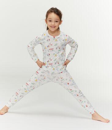 Girls' Ribbed Pyjamas Marshmallow white / Multico white