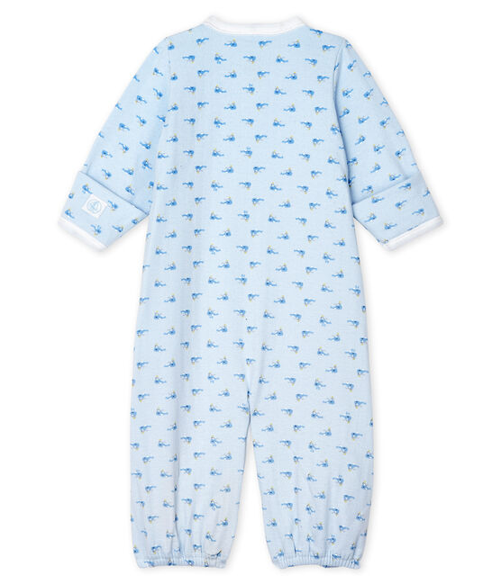 Babies' Ribbed Jumpsuit/Sleeping Bag Fraicheur blue / Multico white