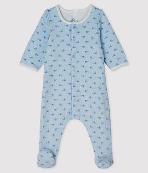 Unisex Baby's Tube Knit Bodyjama Fraicheur blue / Multico white
