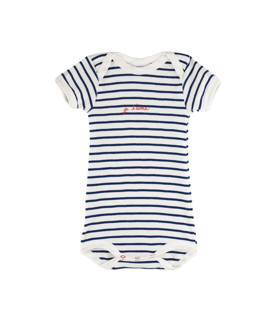 Baby Girls' Short-Sleeved Bodysuit Marshmallow white / Medieval blue