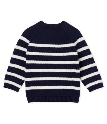 Baby Boys' Striped Wool/Cotton Pullover Smoking blue / Marshmallow white