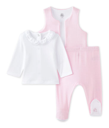 Baby girls' 3-piece set Ecume white / Vienne pink