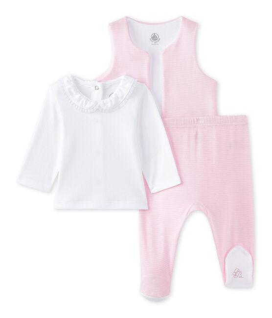 Baby girls' 3-piece set Ecume white / Vienne pink