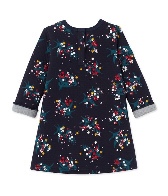 Baby girl's printed double knit dress Smoking blue / Multico white