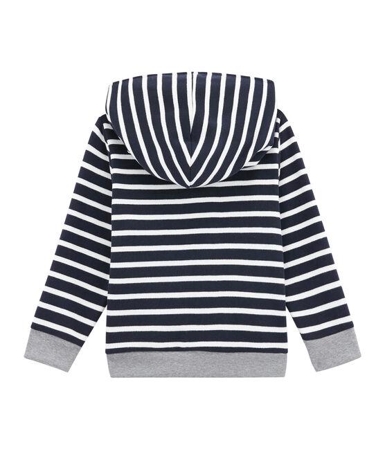 Sweatshirt in brushed cotton Smoking blue / Marshmallow white