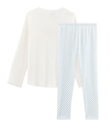 Girls' Ribbed Pyjamas Marshmallow white / Jasmin blue