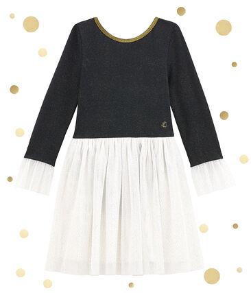 Girl's shiny dual fabric dress