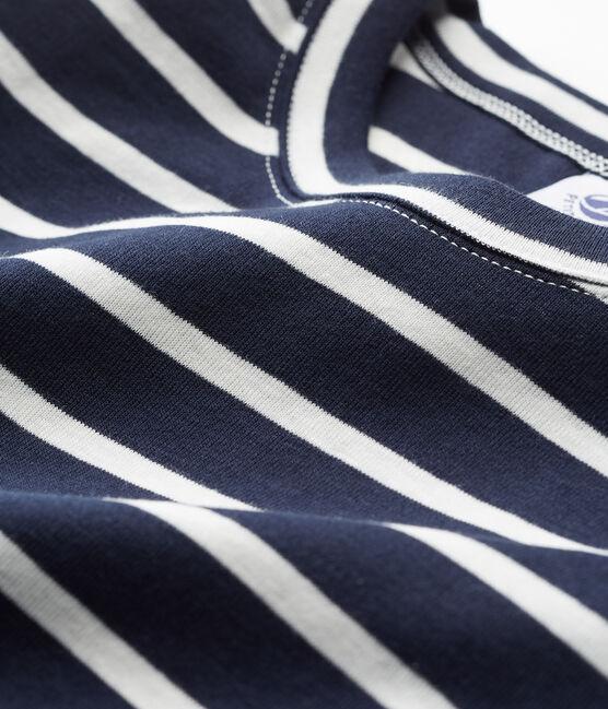 women's short sleeved striped t-shirt Smoking blue / Marshmallow white