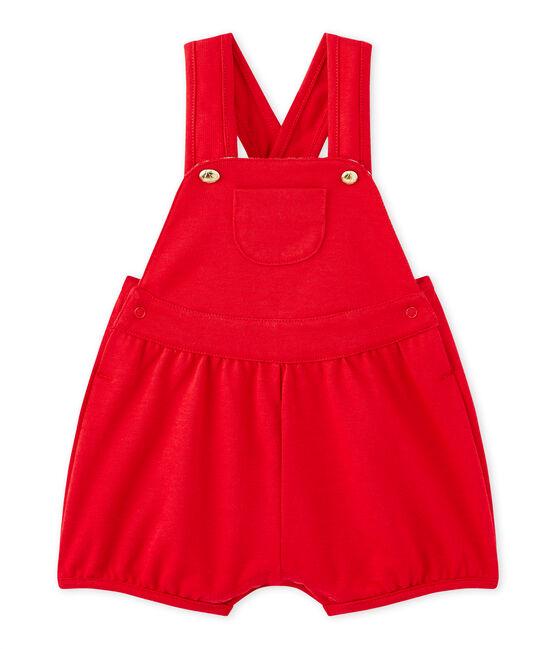 Baby girl's heavyweight jersey short overalls Terkuit red