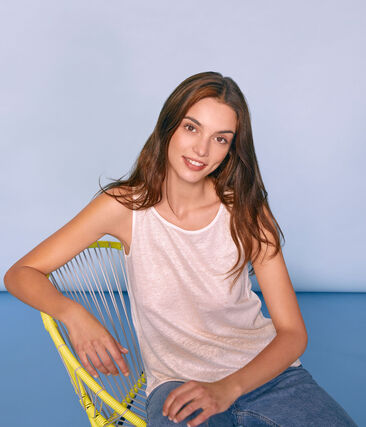 Women's iridescent linen sleeveless top Marshmallow white / Copper pink