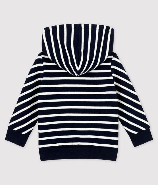 Baby boy's hooded sweatshirt Smoking blue / Marshmallow white