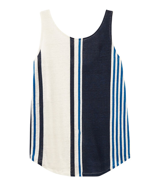 Women's sleeveless linen top Marshmallow white / Multico white