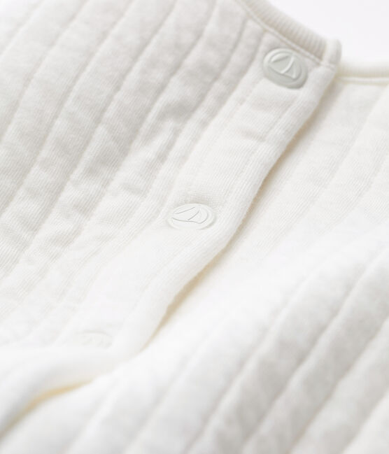 Baby girls' cardigan in quilted tube knit Marshmallow white