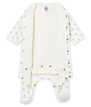 Baby boy's Bodyjama in print cotton velour