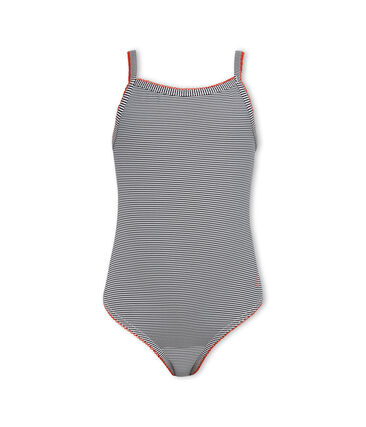 Girls' One-Piece Swimsuit Abysse blue / Lait white