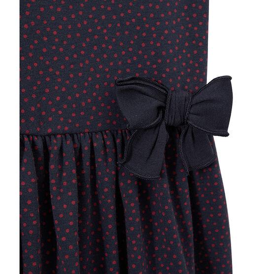 Girls' polka-dot dress Marshmallow white / Brut blue