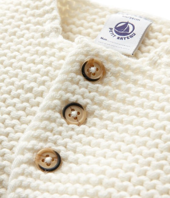 Baby's cardigan in wool and cotton mix Lait white