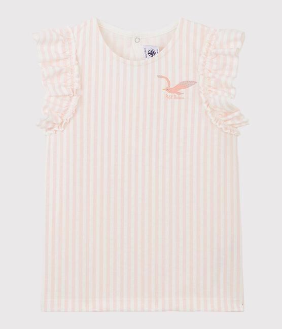 Girls' Short-Sleeved Jersey T-shirt Minois pink / Marshmallow white