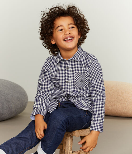 Boys' Checked Shirt Medieval blue / Lait white