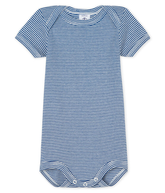 Baby boys-girls' short-sleeved bodysuit Limoges blue / Marshmallow white