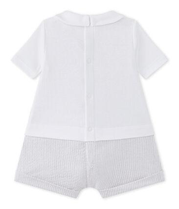 Baby boys' dual-fabric romper