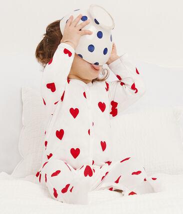 Baby Girls-Boys' Fleece Sleepsuit Marshmallow white / Terkuit red