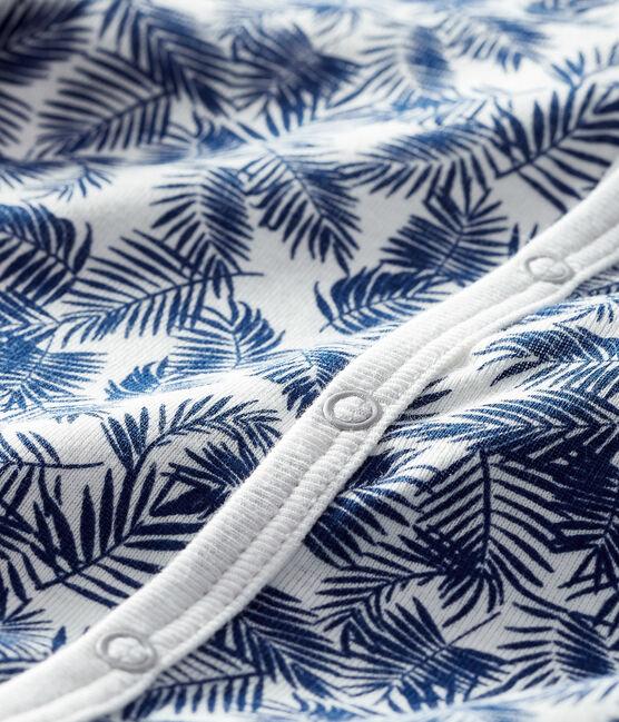 Unisex Baby's Ribbed Sleepsuit Marshmallow white / Medieval blue