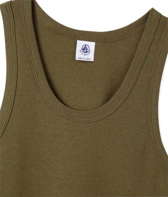 Women's vest top in heritage rib Litop green