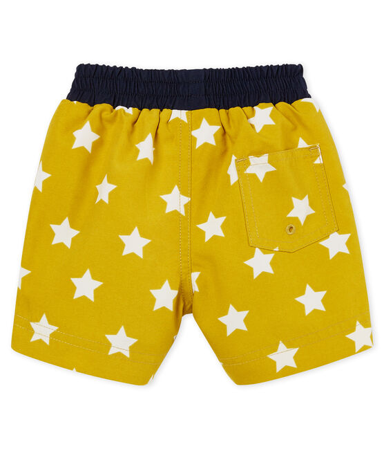 Baby boys' printed beach shorts Bamboo yellow / Marshmallow white