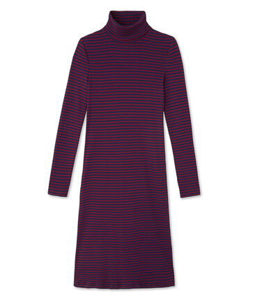 Women's striped roll-neck dress in ultra light cotton Clafouti red / Medieval blue