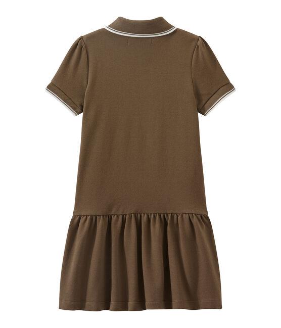 Girl's short-sleeved dress Shitake brown