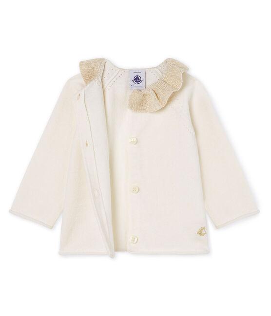 Baby Girls' Wool/Cotton Knit Cardigan Marshmallow white