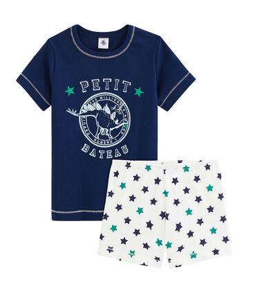Boys' Cotton/Linen Short Pyjamas Medieval blue / Multico white