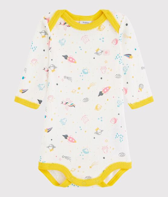 Baby Girls' Long-Sleeved Bodysuit Marshmallow white / Multico white