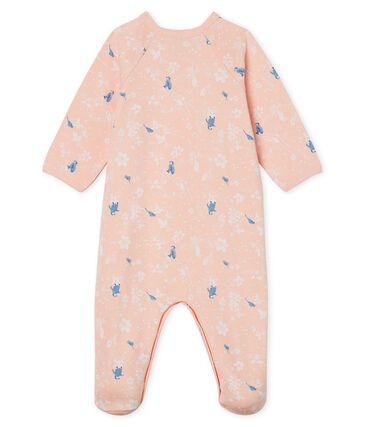 Baby Girls' Fleece Sleepsuit Minois pink / Multico white