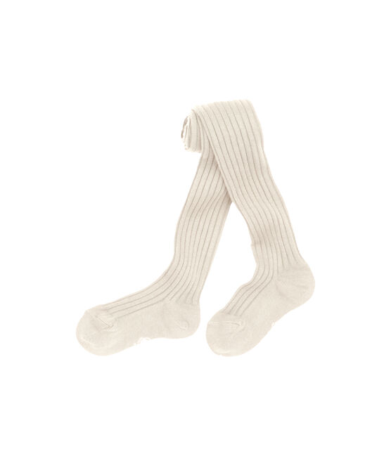 Girls' plain tights Coquille beige