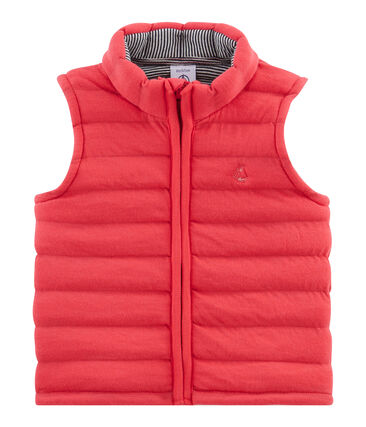 Unisex Baby Sleeveless Jacket in Quilted Tube Knit Signal red