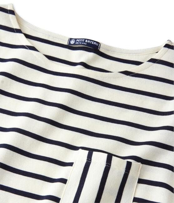 T-shirt femme manches longues en côte originale Coquille beige / Smoking blue