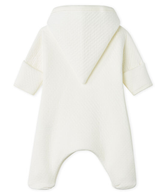 Babies' Long Jumpsuit in Quilted Tube Knit Marshmallow white