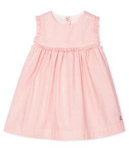 Baby Girls' Sleeveless Striped Dress Marshmallow white / Rosako pink