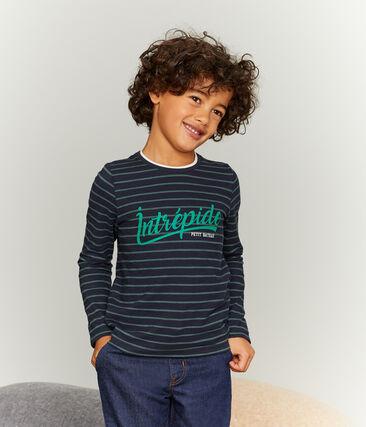 Boys' Long-Sleeved T-shirt Smoking blue / Sousbois green