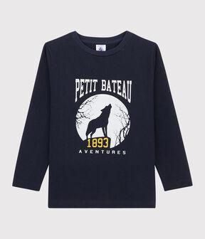 Boys Silkscreen Print T-shirt Smoking blue