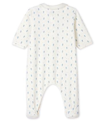 Babies' Blue Velour Sleepsuit with Collar Marshmallow white / Multico white