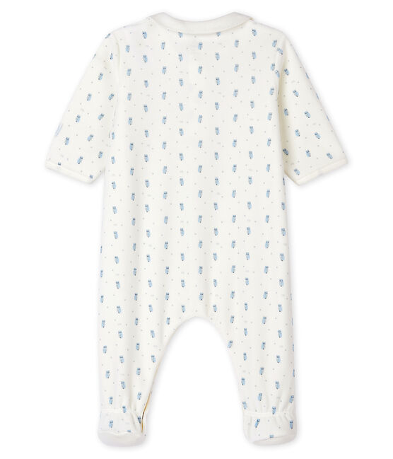 Babies' Blue Velour Sleepsuit with Collar Marshmallow white / Multico white