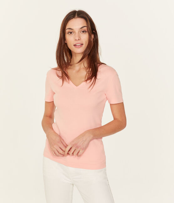 Women's short-sleeved v-neck iconic t-shirt Rosako pink