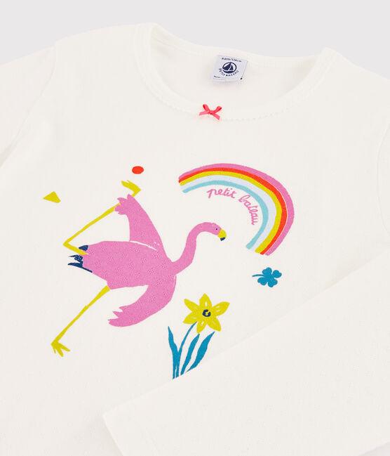 Girls' Flamingo Pink Ribbed Pyjamas Marshmallow white / Multico white